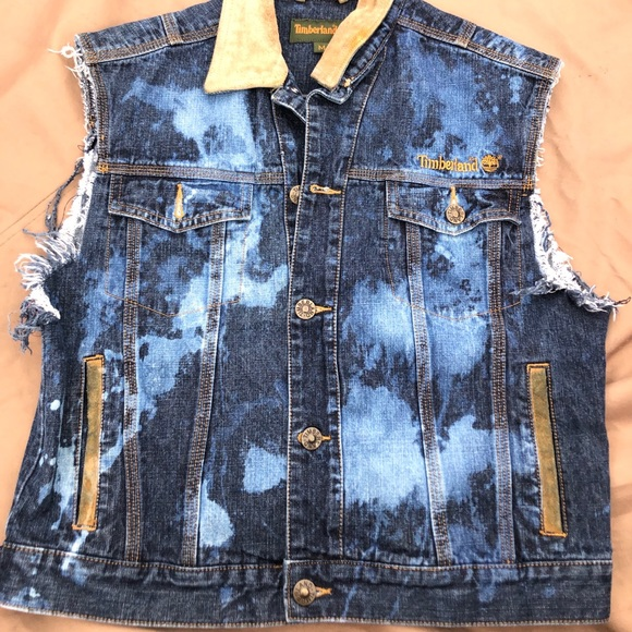 timberland vest jean material distressed Size M